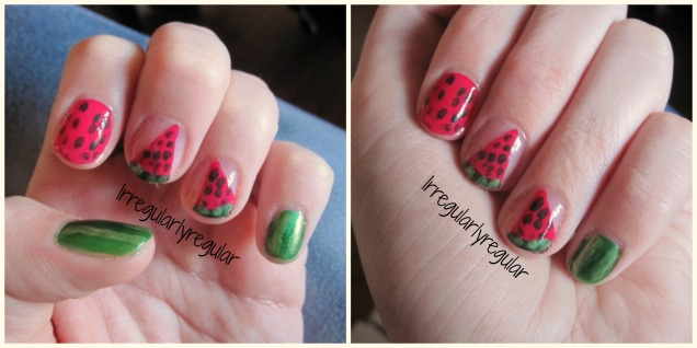watermelon nail art collage