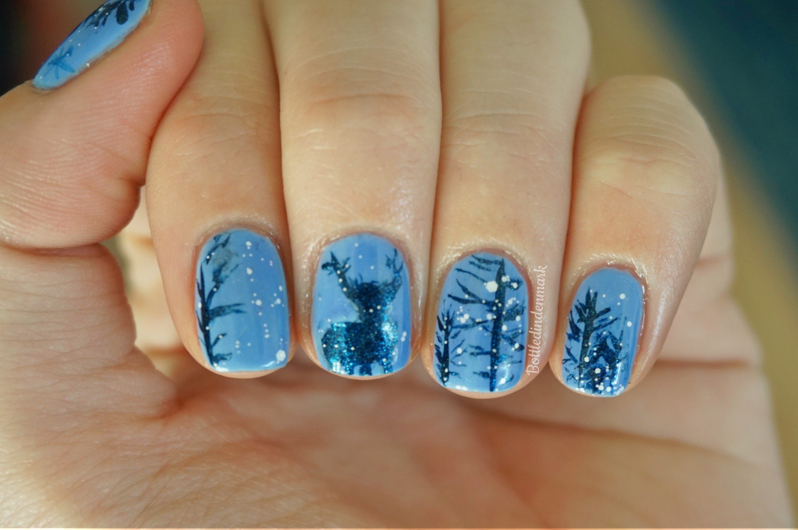Deer In The Forest Nail Art